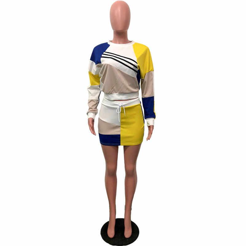 Echoine Street Стиль 2 шт. наборы для ухода за кожей для женщин 2018 короткие худи юбки круглый вырез горловины топы с длинными рукавами многоцветн