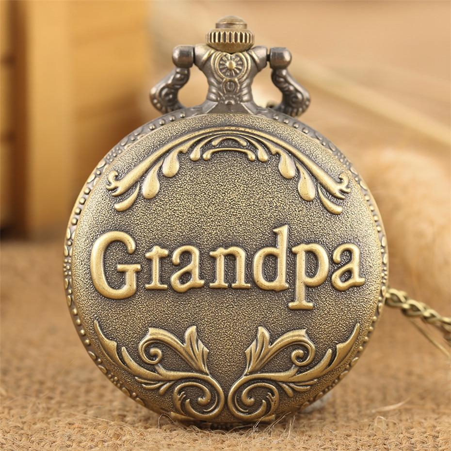 Grandpa Design Bronze Fob Chain Pocket Watch Retro Full Hunter Exquisite Necklace Pendant Clock For Men Women Kids