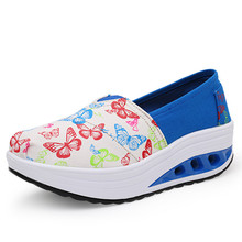Women's Platform Wedges Slimming Shoes 2016 Fashion Print Women Casual Shoes Canvas Walking Shoes Girls