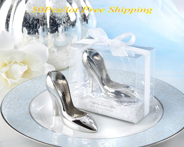 50 Pieces lot Wedding and Bridal Shower Favors of A Perfect Fit Chrome Slipper Bottle