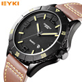 Men's Leather Strap Watches Top Brands Luxury EYKI Mans Quartz Waterproof Watches Sport Military Watches relogio masculino