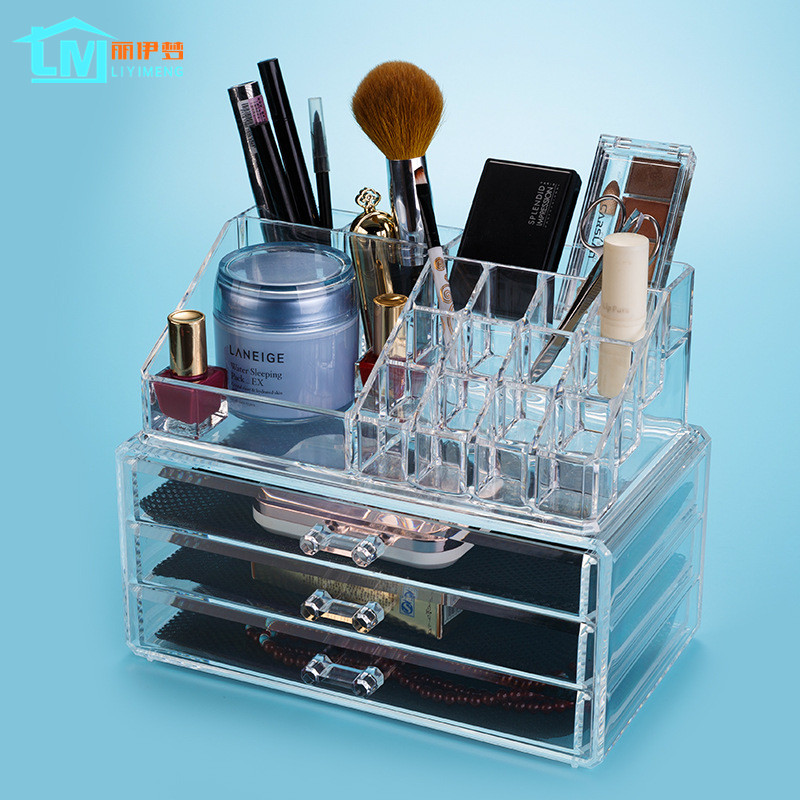 liyimeng cosmetic brush holder makeup racket jewelry storage earring box acrylic drawer desk. Black Bedroom Furniture Sets. Home Design Ideas