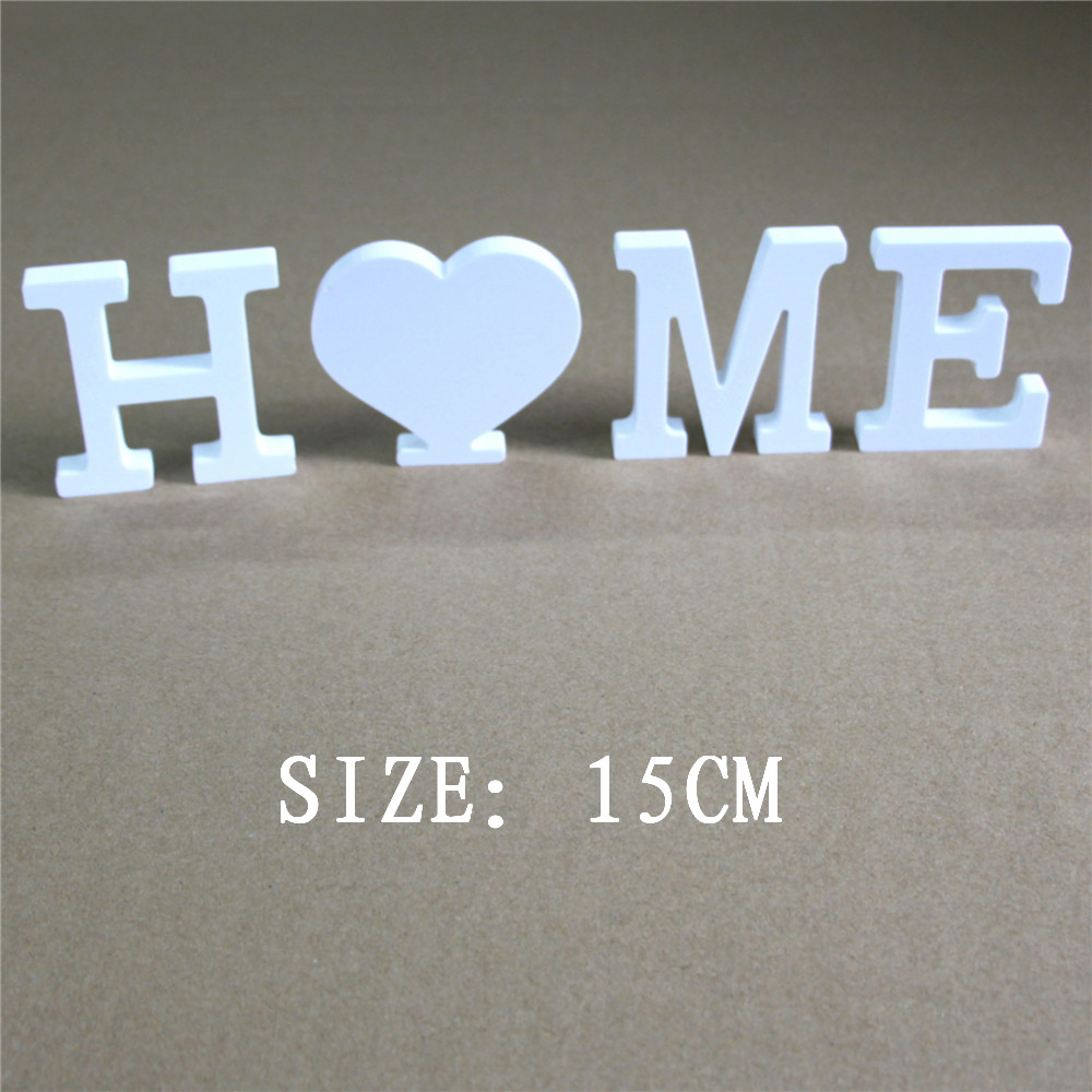 15cm Frees tanding  artificial  Wood Wooden Letters White word Wedding Party Home Decorations Wood Wooden White Letters Alphabet