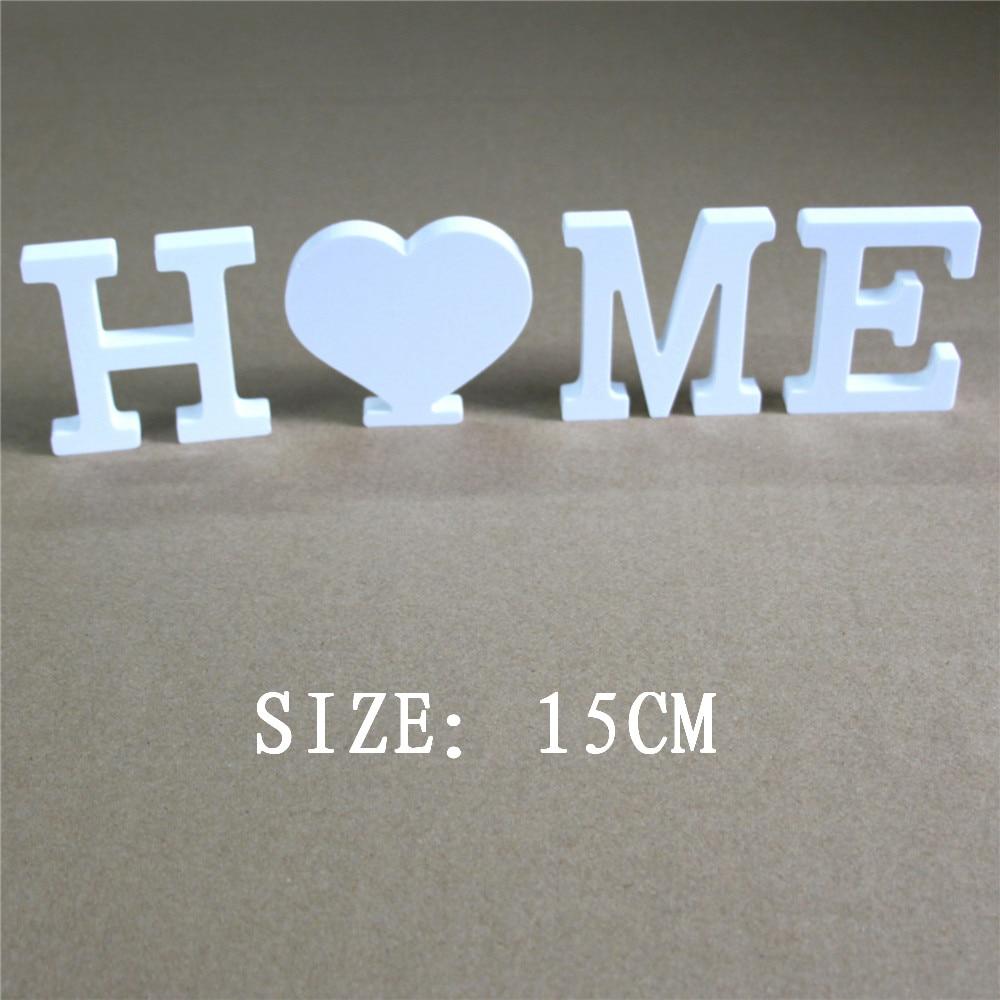 15cm bevrijdt kunstmatig hout Houten letters Wit woord Bruiloft Home Decoraties Hout Houten Wit Letters Alfabet