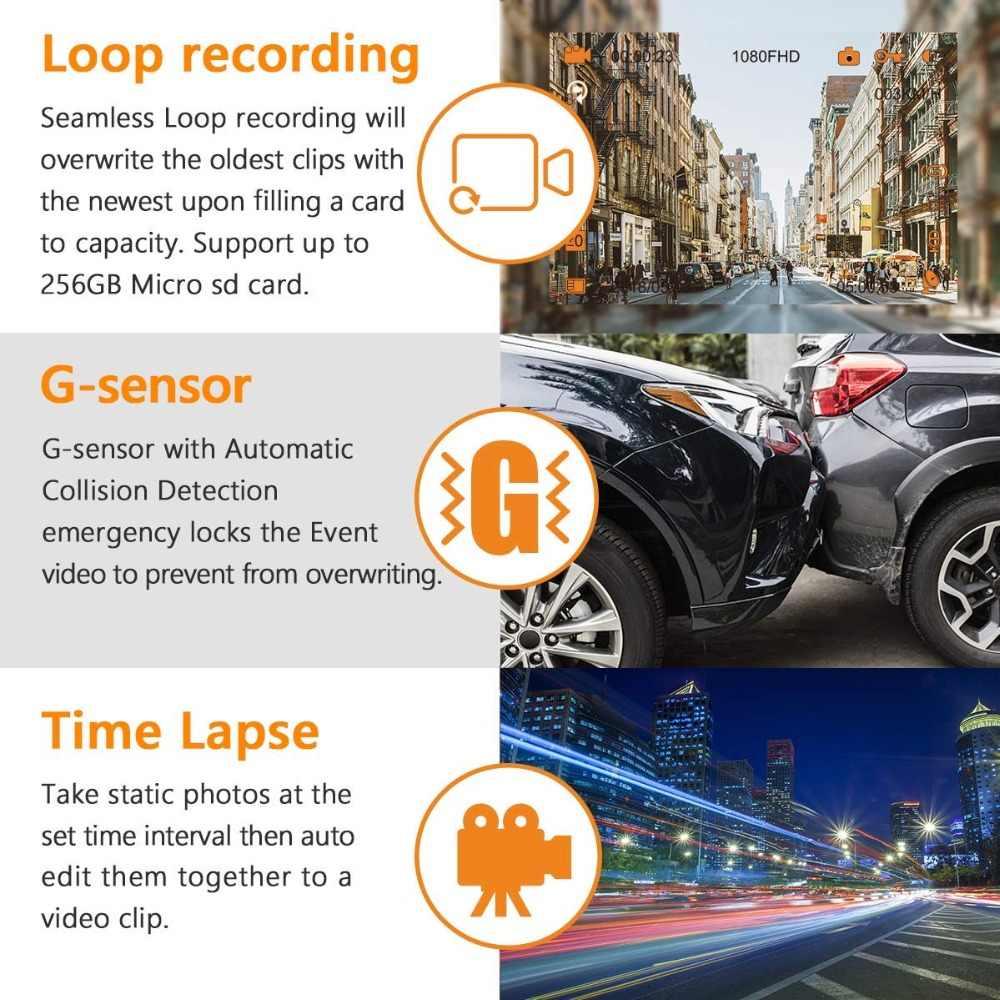 Vantrue T2 Видеорегистраторы для автомобилей 24/7 наблюдения тире Камера супер конденсатор с алюминиевой крышкой, HDR 1080 P 2,0 ''ЖК-дисплей Dash Cam w/микроволновая печь гвардии режим парковки