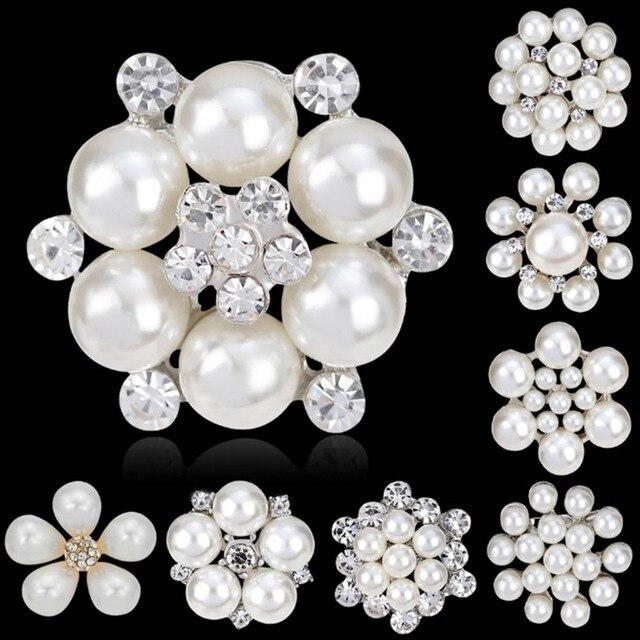 10 Styles Flower Rhinestone Imitation Pearl Brooch Pin DIY Bridal Wedding Bouque
