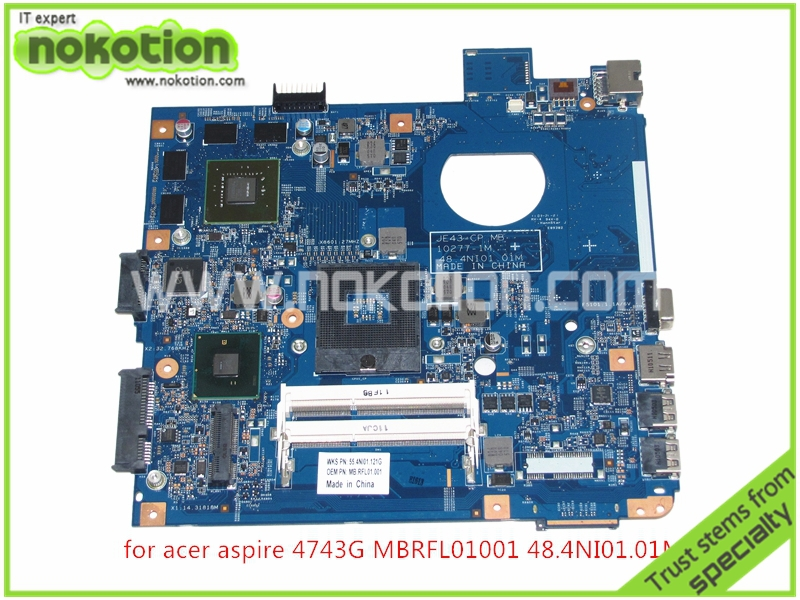 MB.RFL01.001 laptop motherboard For ACER aspire 4743G MBRFL01001 JE43-CP MB 48.4NI01.01M HM55 nvidia GeForce DDR3 Mainboard