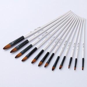 Image 2 - 12 ピース/セットナイロン毛木製ハンドル水彩ペイントブラシペンセット学習 DIY 画アートペイントブラシ用品