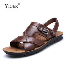 YIGER NEW Mens Sandals Genuine Leather Summer Beach Men Casual Shoes Outdoor Big Size 38-47 free shipping  0031