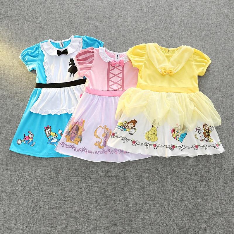 formal girls dresses cartoon character pattern children cotton clothes casual summer kids halloween snow white frocks vestido