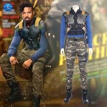 Hot Sale New Movie Black Panther Costume Erik Killmonger Cosplay Costume Halloween Costumes For Men Full Set Custom Made цена и фото