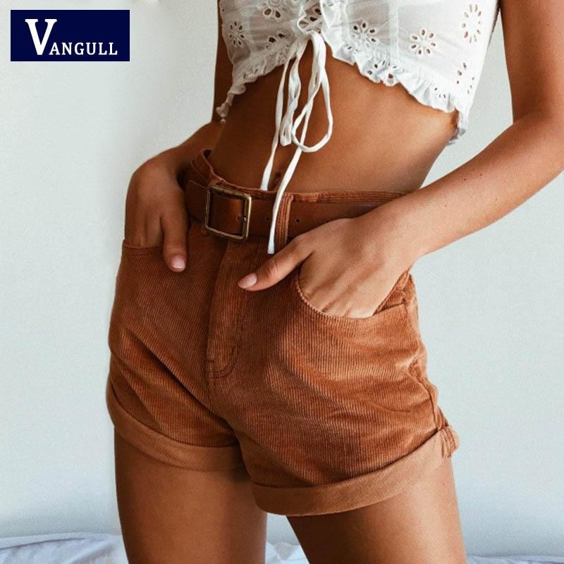 Vangull Summer High Waist corduroy   Shorts   New Style women Casual streetwear   Shorts   female Loose zipper button Solid   short     shorts