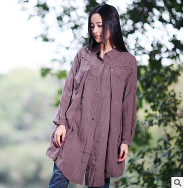 New product launches spring of 2016, the original design loose big yards of cotton linen leisure female shirt