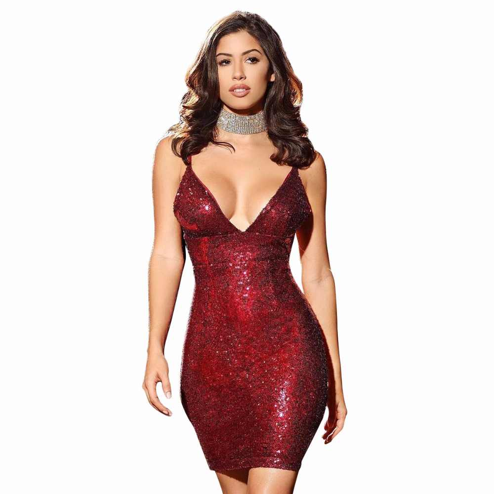 329d0766 ... sexys night club rose gold shiny sequin cami dress Luxury sleeveless v  neck sparkly party mini ...