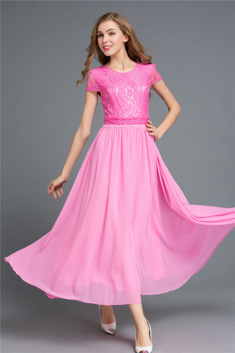 Promote Quality Ladies Chiffon Lace A Dress Big Size XL Women Summer Long  Dress Ankle Length Dress Female Formal Chiffon Gowns-in Dresses from Women s  ... 660b81013647