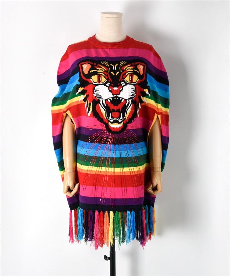 Chandails de piste femmes automne pulls tricotés Vintage tête de tigre glands doux manteau chandails décontracté lâche chaud tricoté hauts