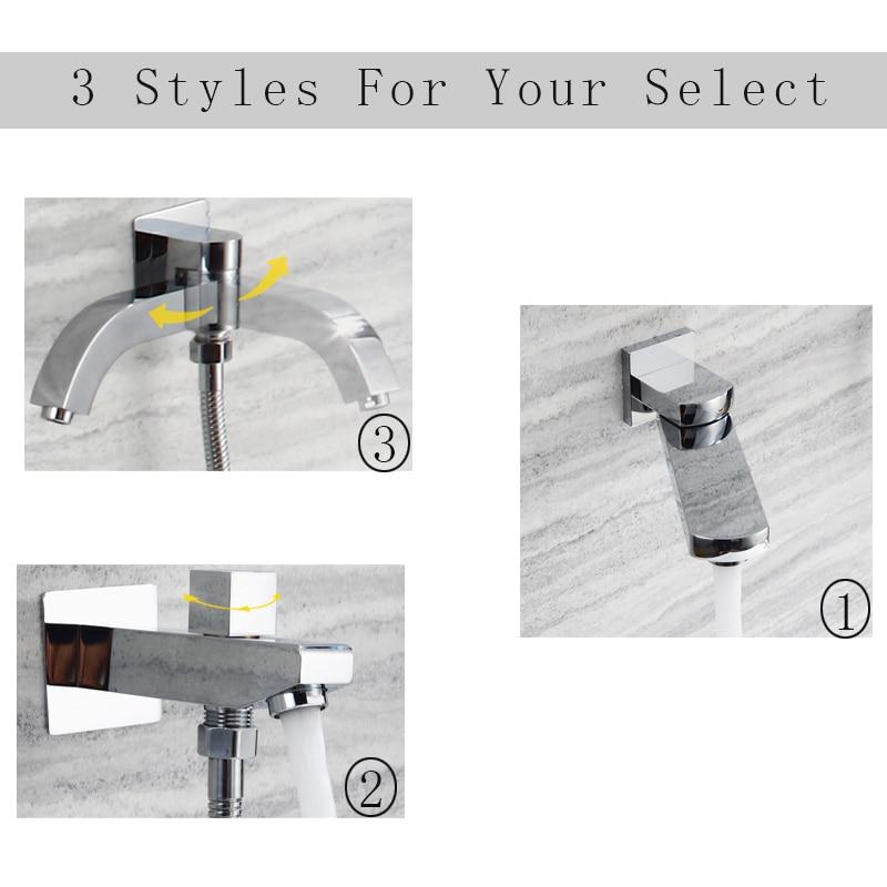 Brass Shower Spout Water Bath Tub Bibcocks 180 Degree Folding Shower Faucets Spout Filler Bathroom Basin Faucet Showers Chrome