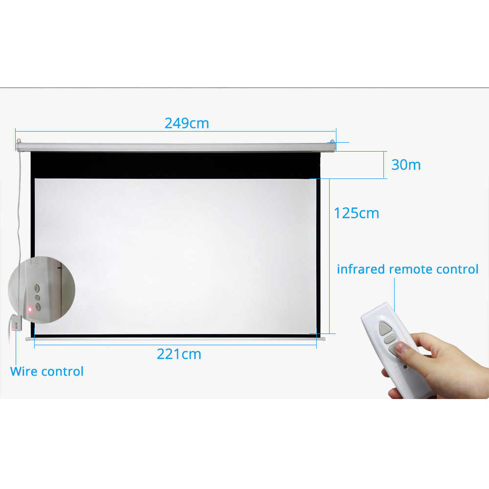thundeal 100 inch 16 9 electric projector screen home cinema business school bar motorized led  [ 1000 x 1000 Pixel ]
