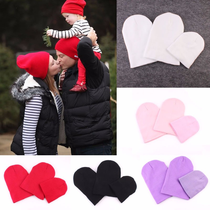 3Pcs Mom Dad Child Knit Hat Set Kids Boys Girls solid Winter Warm Soft Beanie Caps lovely toddler first walkers baby boys and girls cotton shoes soft bottom hook sneakers i love mom dad