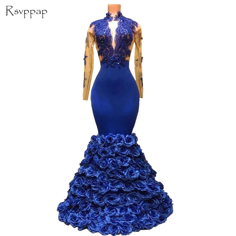 Stunning Long Prom Dresses 2018 Sheer High Neck Long Sleeves Mermaid