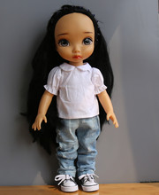 Doll Accessories White shirt wild hole jeans ofia  princess Anna Elsa for 40cm American girl clothes/dress for girls gift