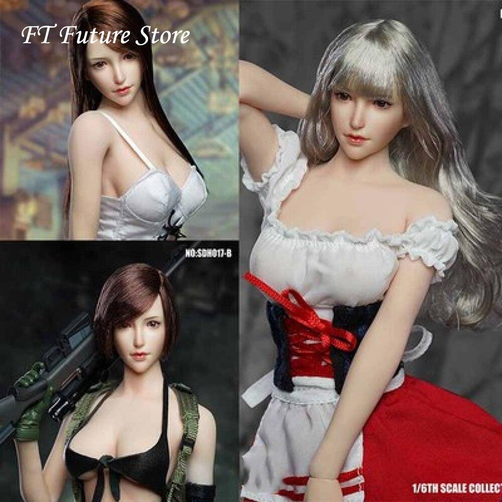 Collection SDH017A/B/C 1/6 beauté asiatique Feamle fille tête sculpte sculpté modèle pour 12 ''pâle Action Figure corps bricolage en Stock