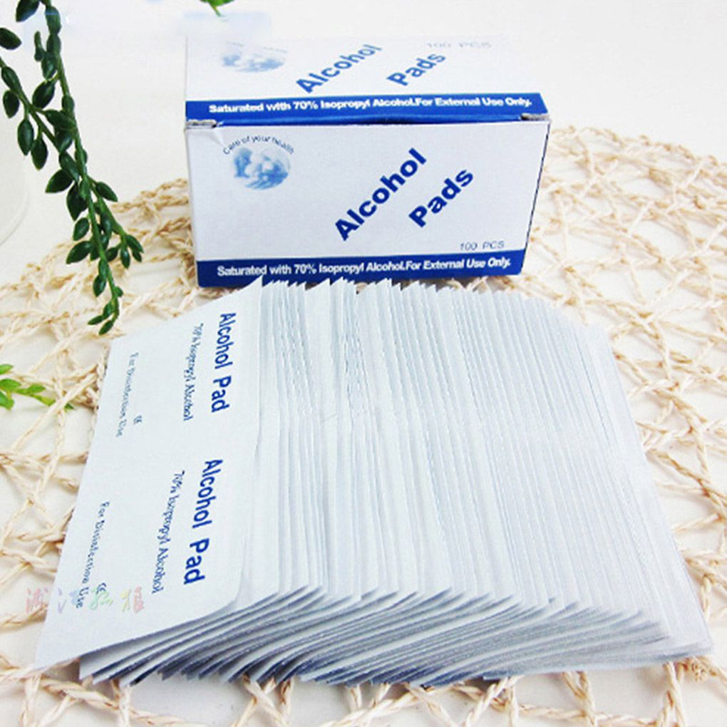 100PCS/Set New Portable Alcohol Swabs Pads Wipes Antiseptic Cleanser Cleaning Sterilization First Aid Home Makeup Tool