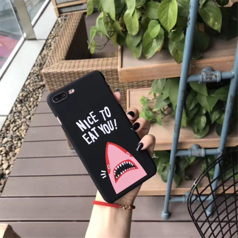 Funny Cute Sup Pink Shark Telefon Cases Cover for iPhone 6 6s 7 8 Plus iPhone6 Case graffiti Capinha fundas capa para