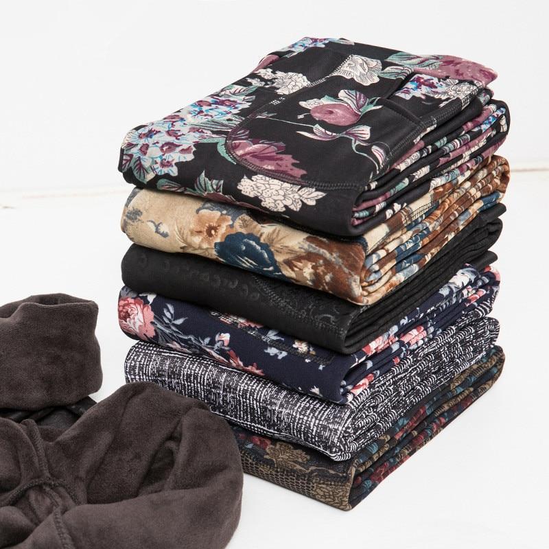 New Arrival Autumn and Winter Style Plus Velvet   leggings   Women Plus size XXXL Printing Flowers 20 Colors thick women's pants