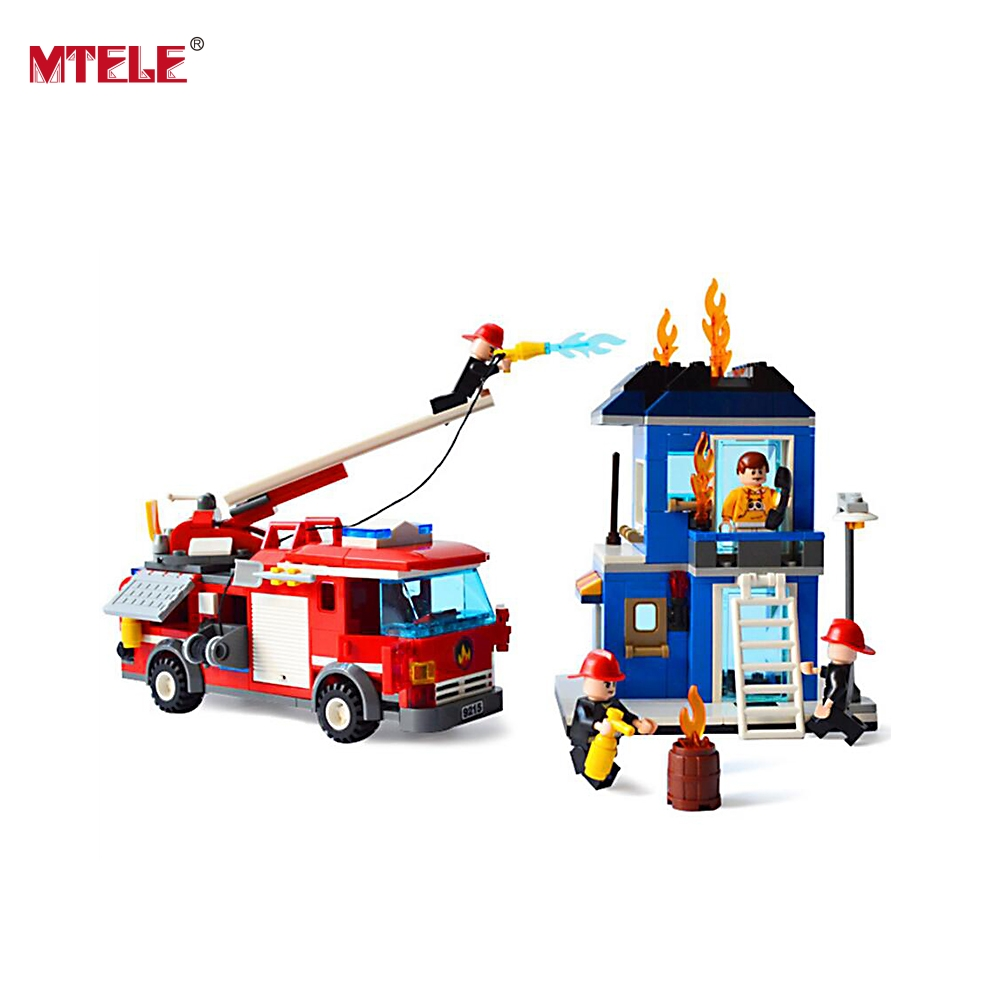 MTELE Brand City Off Road Fire Rescue Blocks 431 pcs Bricks Building Blocks Sets High Quality For Children Compatible with lego lepin 02012 city deepwater exploration vessel 60095 building blocks policeman toys children compatible with lego gift kid sets