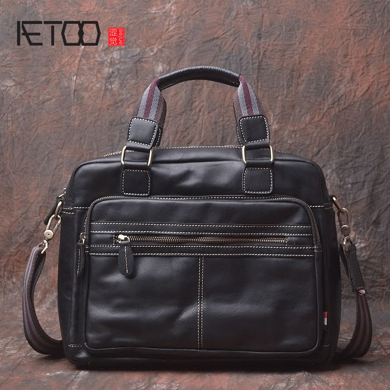 AETOO Original design of the first layer of leather soft leather men bag shoulder Messenger business English cross section porta men s leather oblique cross chest packs of the first layer of leather deer pattern men s shoulder bag korean fashion men s bag