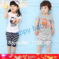 2014 New Free shipping fashion boys girls suit clothes sets short sleeve T shirt + pants