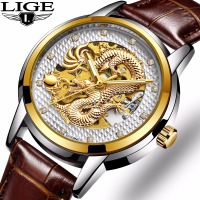 Luxury Dragon Skeleton Automatic Mechanical Watches For Men Wrist Watch Stainless Steel Strap Gold White Waterproof