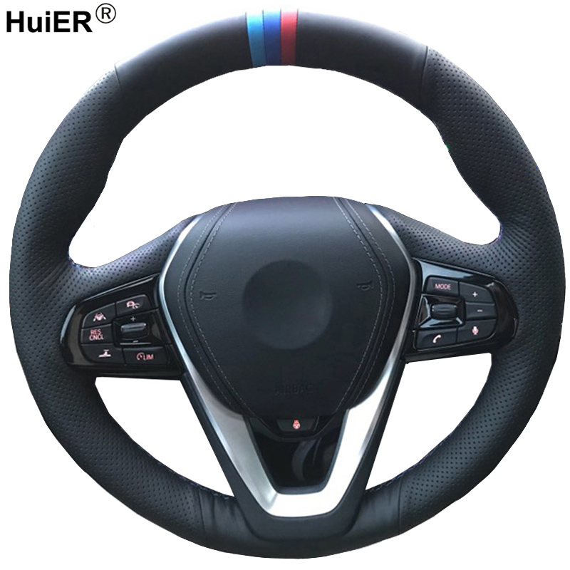HuiER Hand Sewing Car Steering Wheel Cover For <font><b>BMW</b></font> <font><b>G30</b></font> <font><b>530i</b></font> 540i 520d 530e 2016 2017 2018 G32 GT 630i 630d 2017 2018 Car Styling image