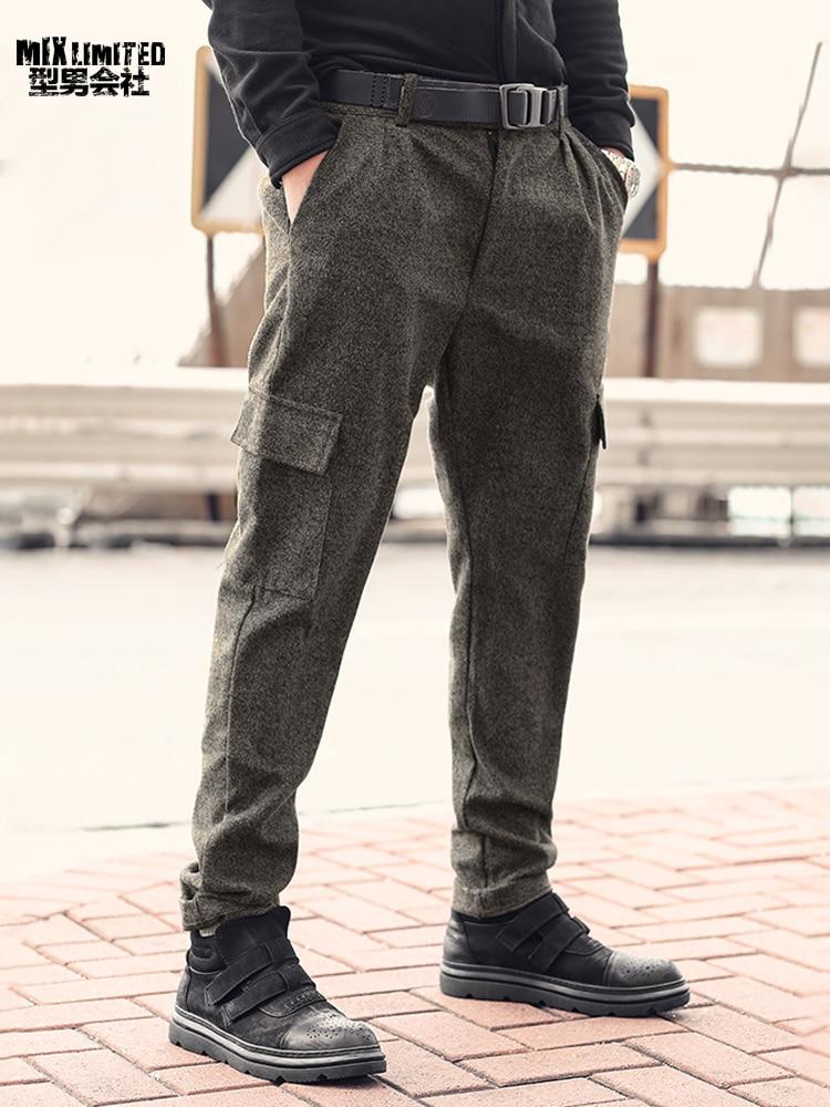 Image 3 - Men British Style Grey Casual Pockets Slim Fit Woolen Brand Suit  Pants Metrosexual Men Zipper Top Quality Straight Trousers K928Cargo  Pants