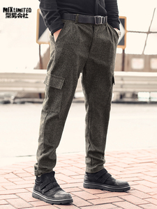 Image 3 - Men British Style Grey Casual Pockets Slim Fit Woolen Brand Suit Pants Metrosexual Men Zipper Top Quality Straight Trousers K928