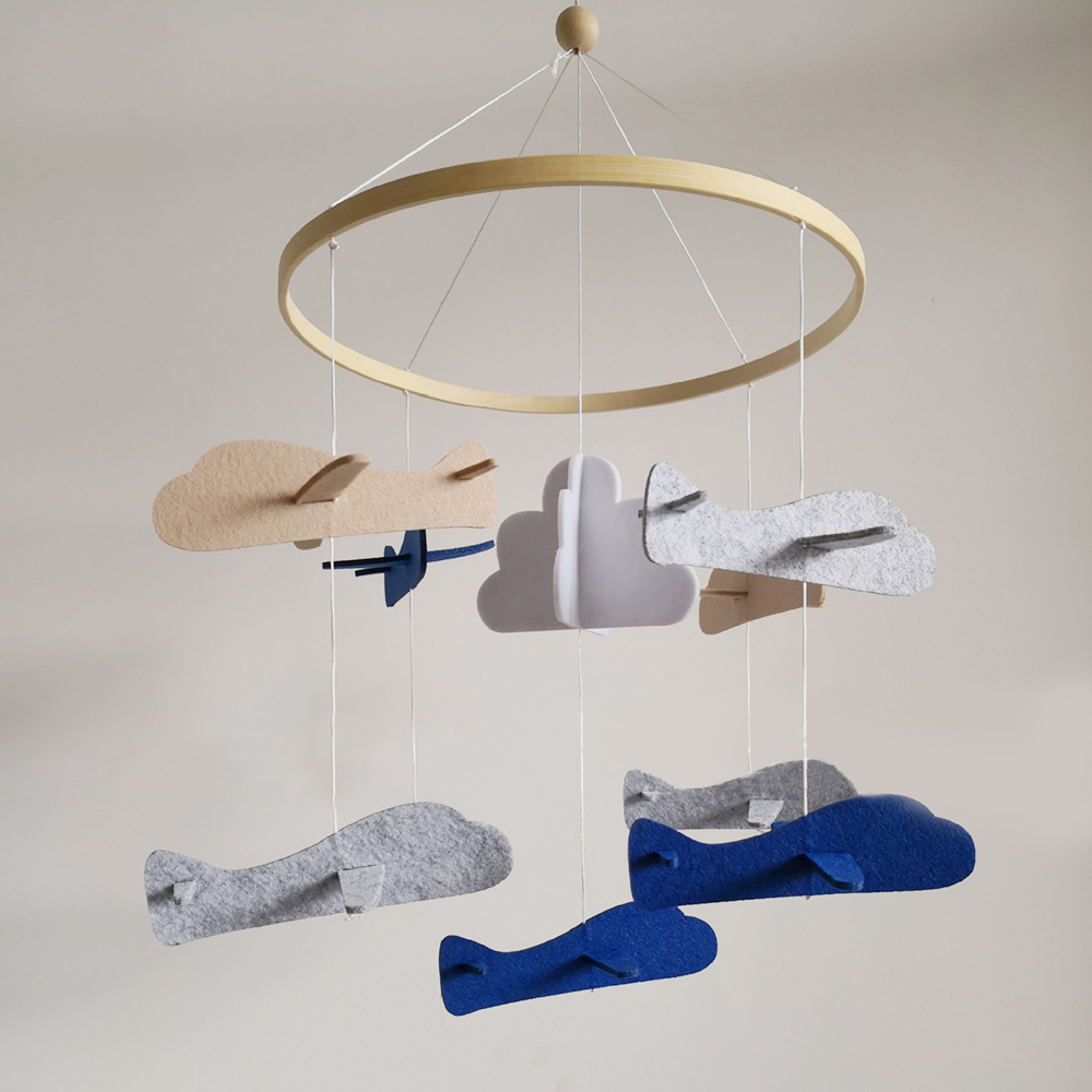 Baby Rattles Toys Baby Bracket Crib Bed Bell Holder Arm Wind-Up Mobile Music Airplane Wind Chimes Early Learning Felt Kids Toys