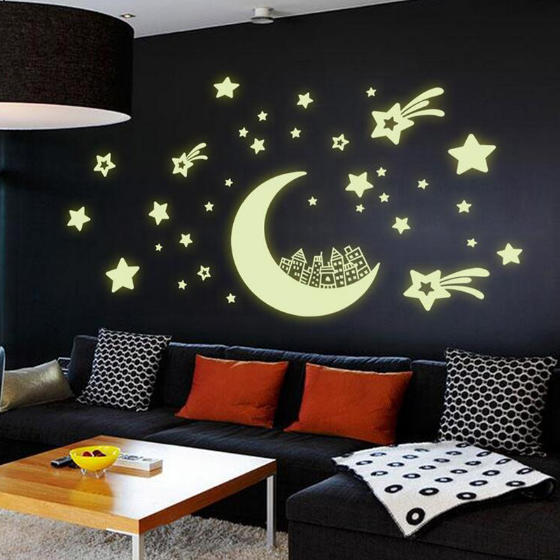 Luminous Moon Stars Wall Stickers DIY Night Light Glow In The Dark Kids  Bedroom Flourescent Home Decor Decals Wallsticker In Wall Stickers From  Home ...