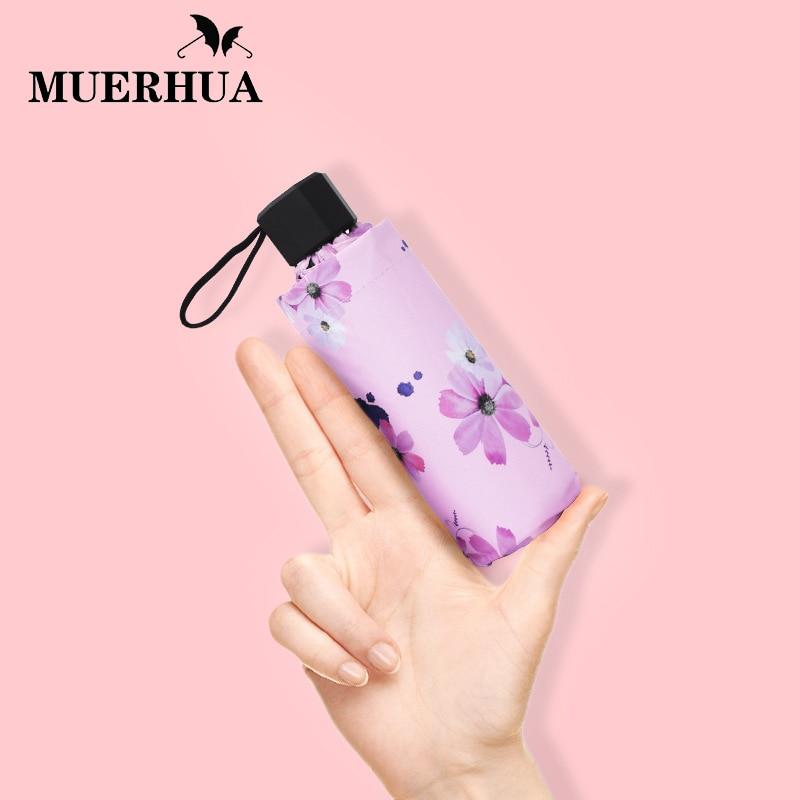 MUERHUA Portable Flower Umbrella Rain Women Waterproof 5 Folding Ultra Light Pocket Umbrellas UV Mini Female Sun Parasol