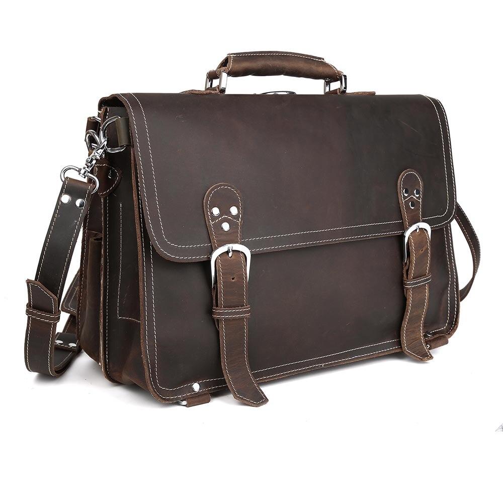 TIDING Men wild style briefcase real leather laptop handbag leisure vintage style 1059