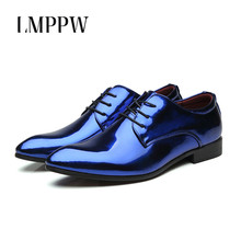 Купить с кэшбэком England Classic Shiny Patent Leather Men Shoes Business Casual Oxford Shoes Pointed Toe Lace Up Men Flats Wedding Prom Shoes 2A