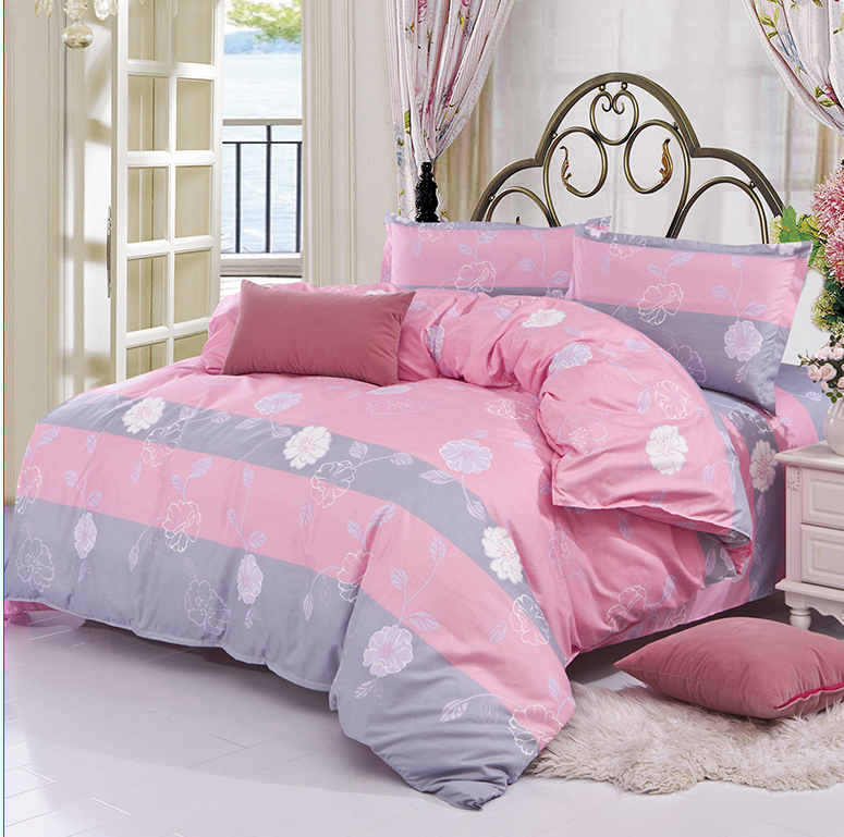 pink gray purple blue beige flower 3 4pcs bedding sets twin full queen king size bed linings. Black Bedroom Furniture Sets. Home Design Ideas