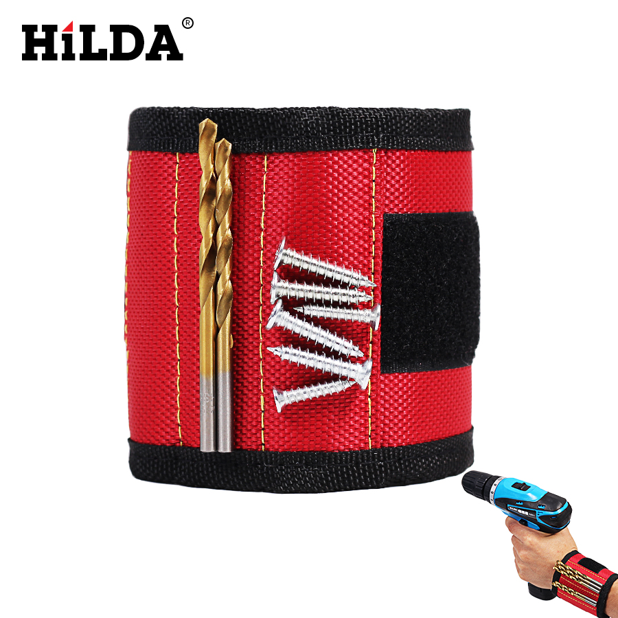 HILDA Adjustable Wristband Tool Strong Magnet Wrist Bands for 2 Pcs Screws Nails Nuts Bolts Hand free Drill Bit Holder Magnet jm x4 components adsorption bracelet powerful magnetic wristband hold small metal nuts washers screws nails jakemy