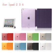 купить Case for iPad 2 iPad 3 iPad 4 PC Hard+PU Leather Smart Auto Sleep Wake Case Ultra Slim Tablet Case for A1460`A1459`A1458`A1416 онлайн