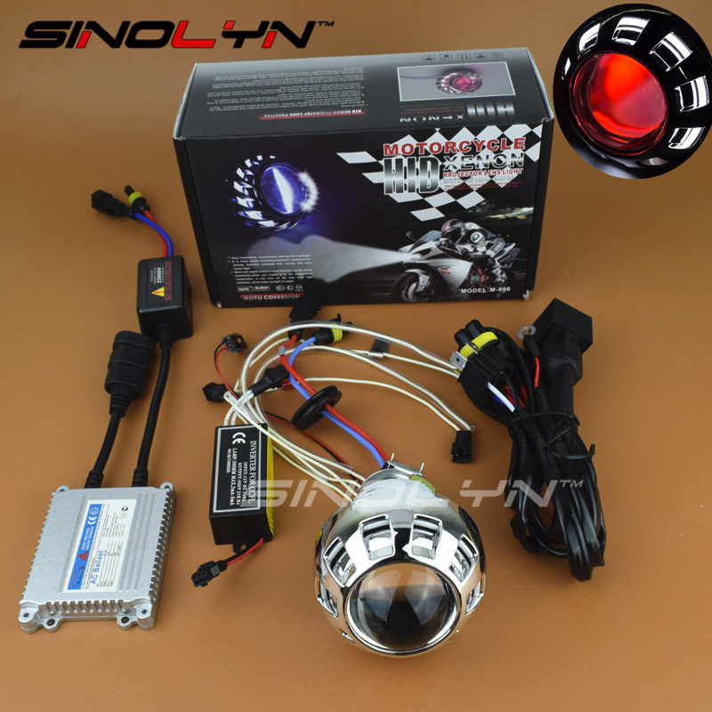 Motorcycle Headlight Mini 2.0 inch Angel Devil Eyes Halo HID Bi-xenon Lens Projectors Xenon Headlamp Light Retrofit Kit H4 H7 цена