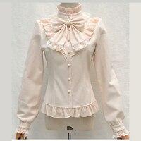 Vintage Lolita Stand Collar Shirt Chiffon Lace Basic Shirt Gothic Style Ruffle Long Lantern Sleeve Blouse With Ruffles For Women