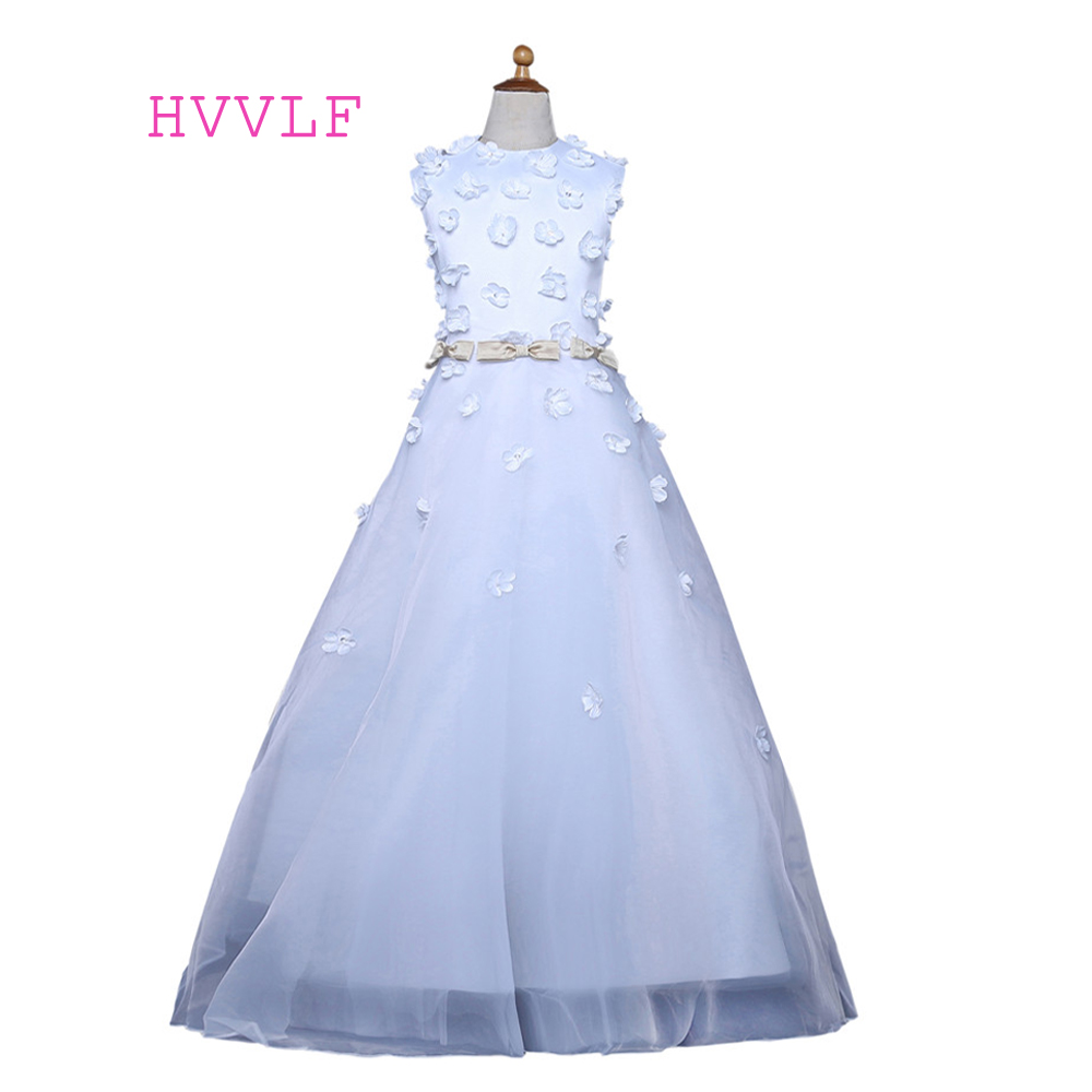 White 2019   Flower     Girl     Dresses   For Weddings Ball Gown Cap Sleeves   Flowers   Bow First Communion   Dresses   For Little   Girls