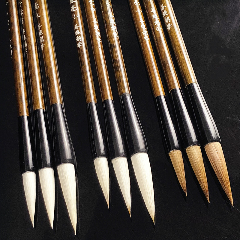 3pcs Woolen Hair Chinese Calligraphy Brush Pen Writing Regular Official Script Weasel Hair Chinese Drawing Painting Brushes Set