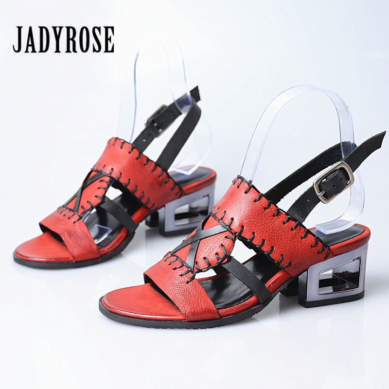 Jady Rose Retro Handmade Summer Women Sandals Hollow Out Chunky Heel Sandal Ladies Casual Gladiator Shoes Woman Sandalias Mujer цена