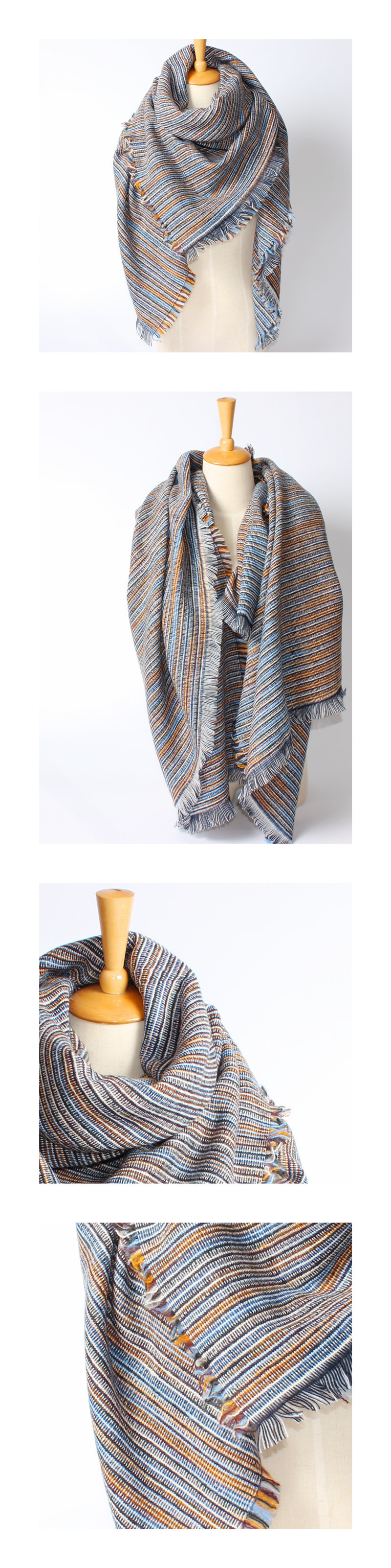 Striped Mix Colors Scarf | Blanket Scarves